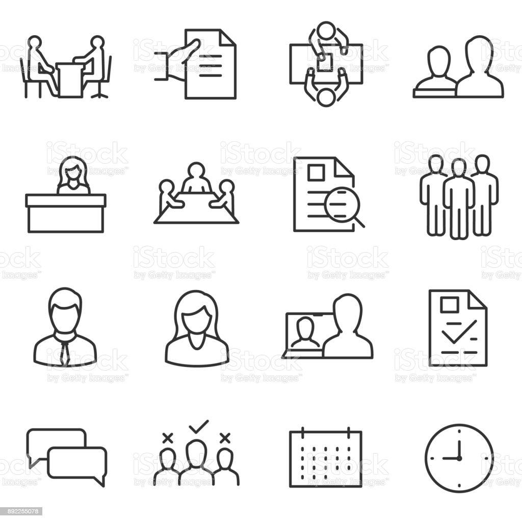 job interview icon set. choice of employee. Line with editable stroke vector art illustration