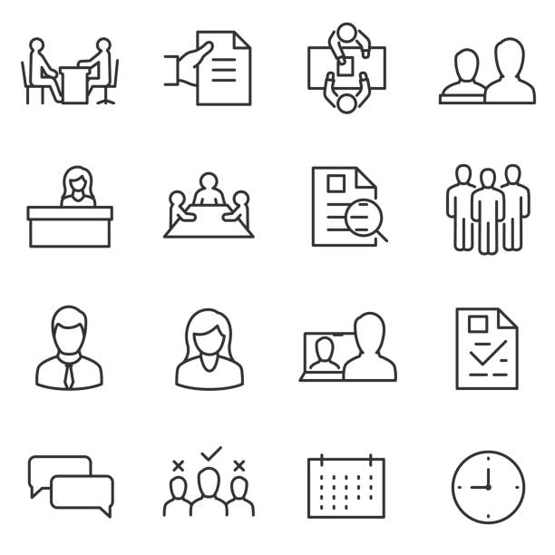 illustrazioni stock, clip art, cartoni animati e icone di tendenza di job interview icon set. choice of employee. line with editable stroke - business man