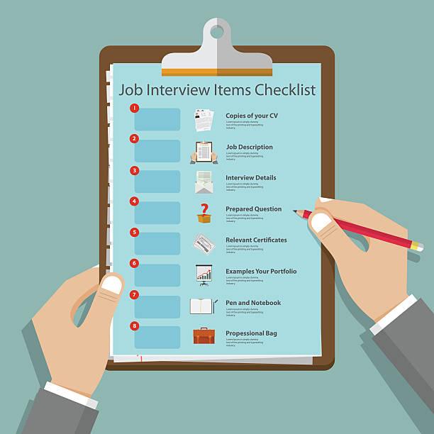 bildbanksillustrationer, clip art samt tecknat material och ikoner med job interview icons in flat design on clipboard. vector illustration - job interview