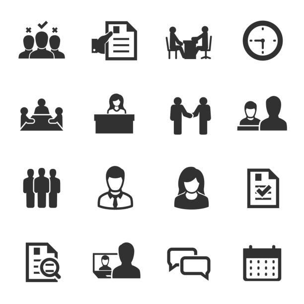 bildbanksillustrationer, clip art samt tecknat material och ikoner med anställningsintervju, ikoner anger. val av medarbetare. - job interview
