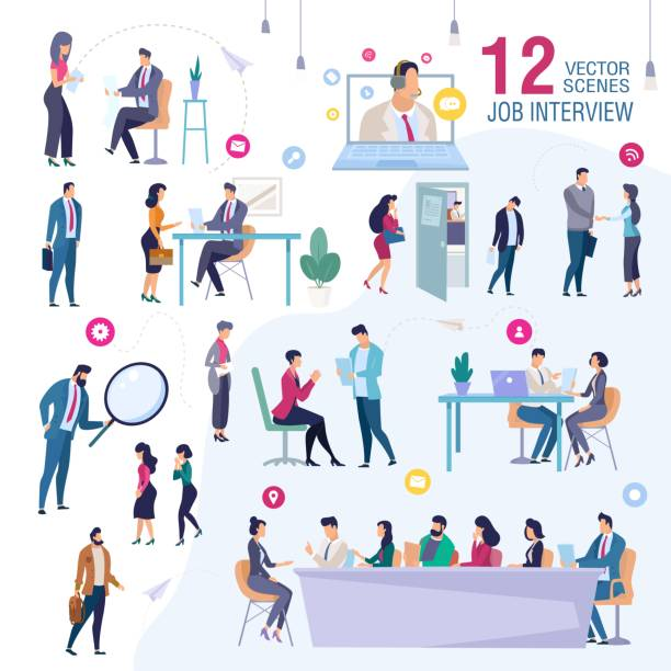 ilustrações de stock, clip art, desenhos animados e ícones de job interview in company office vector scenes set - job interview