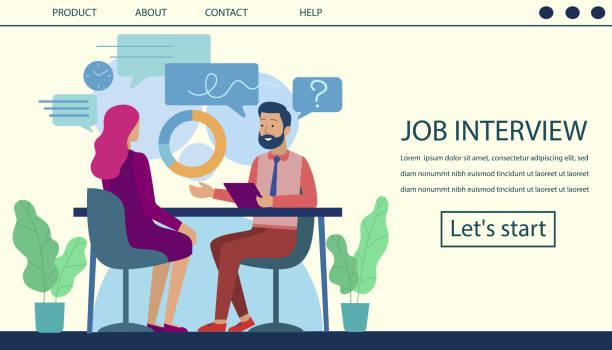 ilustrações de stock, clip art, desenhos animados e ícones de job interview landing page hiring process design - job interview
