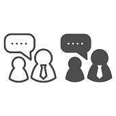 Job interview line and solid icon. Boss and employee, dialogue with authorities symbol, outline style pictogram on white background. Teamwork sign for mobile concept and web design. Vector graphics