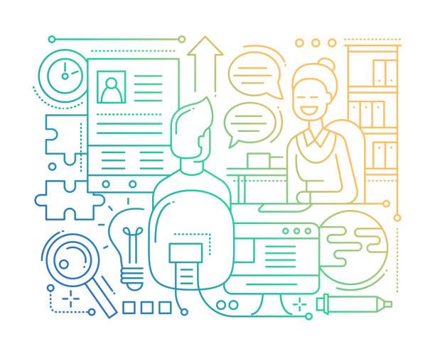 job-interview - linie design zusammensetzung - farbverlauf - arbeitsvermittlung stock-grafiken, -clipart, -cartoons und -symbole
