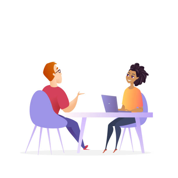 Job Interview Meeting. Hr Manager Vector Character Job Interview Meeting. Hr Manager Vector Character. Woman by Laptop make Conversation with Man for Business Corporate Position. Effective Hiring Research Concept. Recruitment Cartoon Illustration candidate stock illustrations