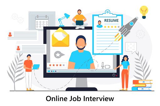 Job interview online concept vector. Employee hiring illustration. Interviewer talking with HR specialist in video conference. Recruitment test