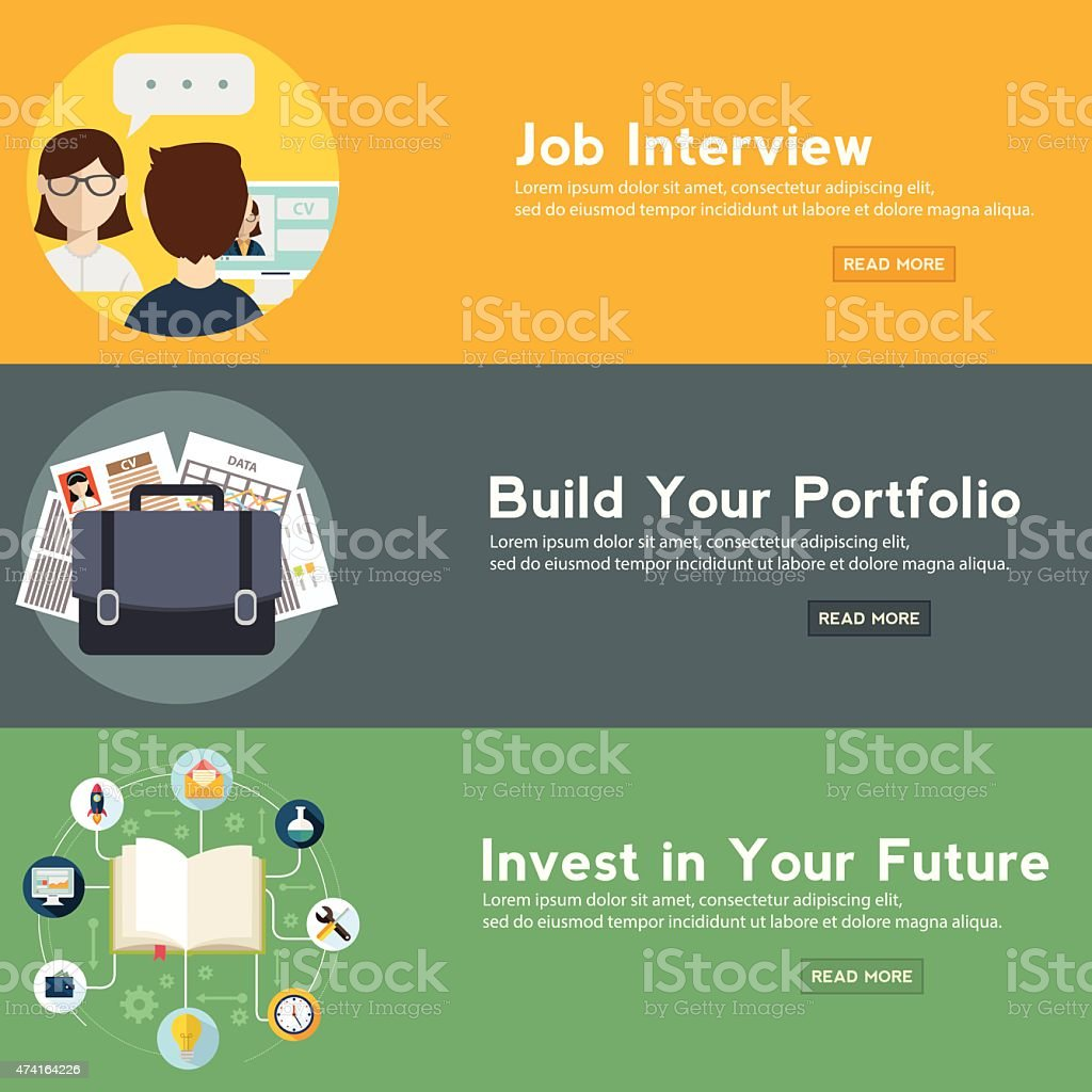 Job interview, portfolio and future investment web banner. vector art illustration