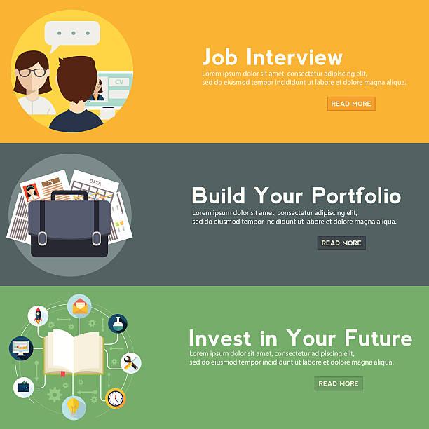 Job interview, portfolio and future investment web banner. vector art illustration