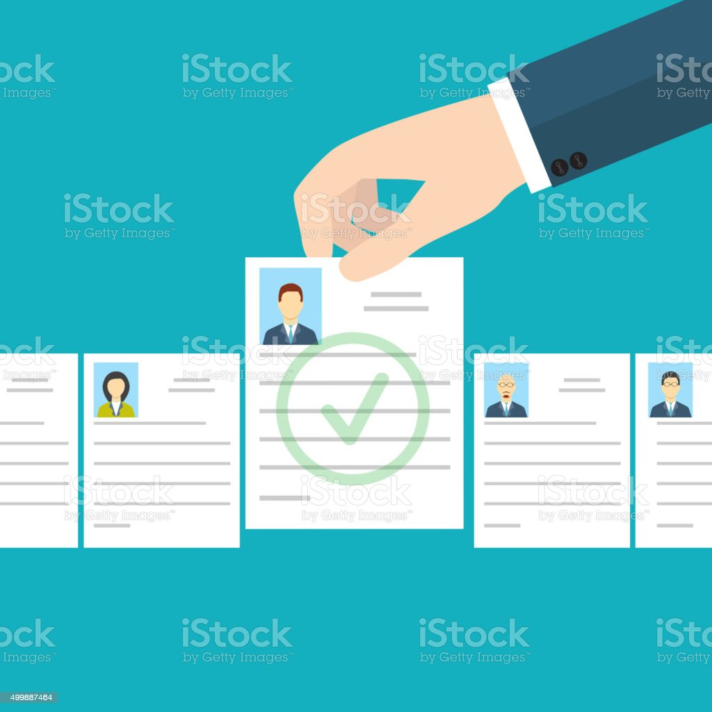 Job interview. Recruitment Hand. vector art illustration