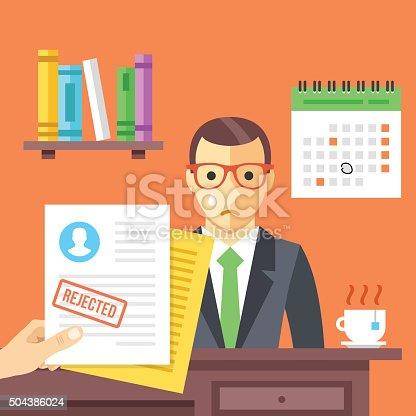 Job interview. Rejected job application with a stamp. Sad man didn't get a job. Modern flat design concept for web banners, web sites, infographic. Flat vector illustration isolated on red background