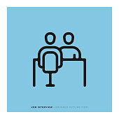 Job Interview Rounded Line Icon