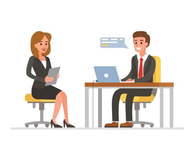 bildbanksillustrationer, clip art samt tecknat material och ikoner med anställningsintervju - job interview