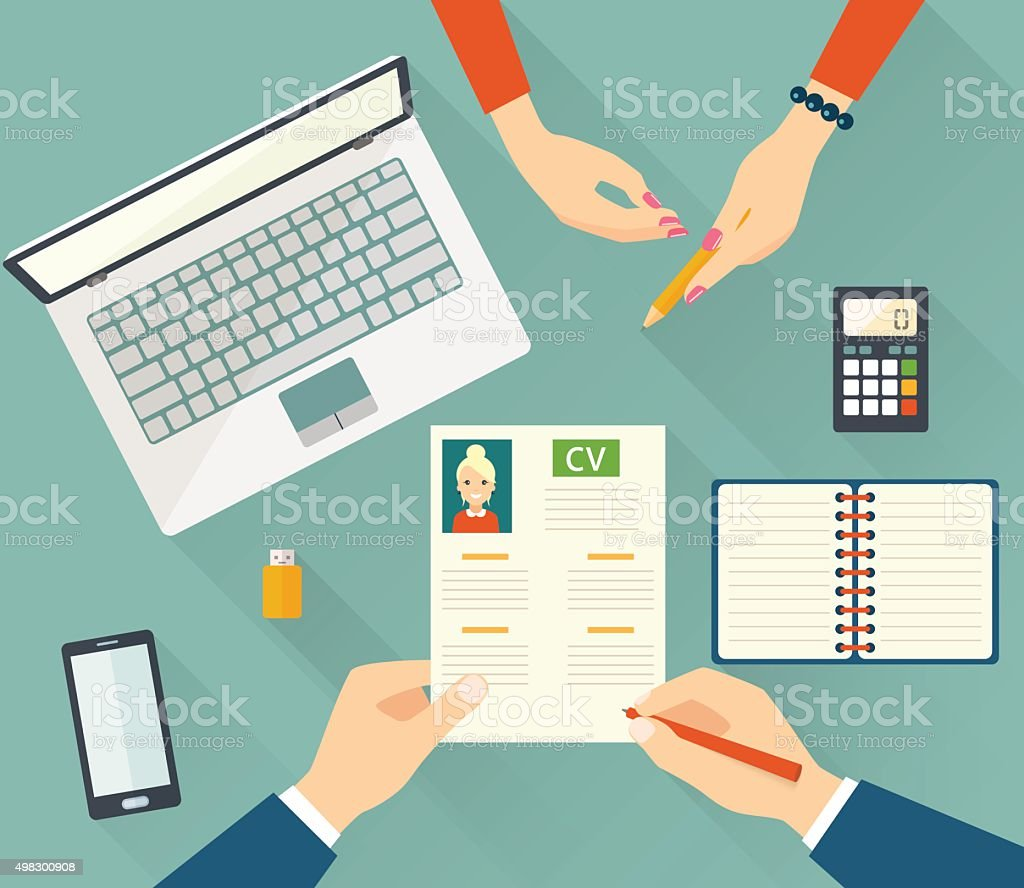 Job interview with business cv resume. Vector flat illustration vector art illustration