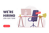 istock Job offer banner design. Workplace in the office with an empty chair and a vacancy sign. Search for employees in an IT company. Table with computer and chair. We're hiring poster. Vector illustration 1268576726