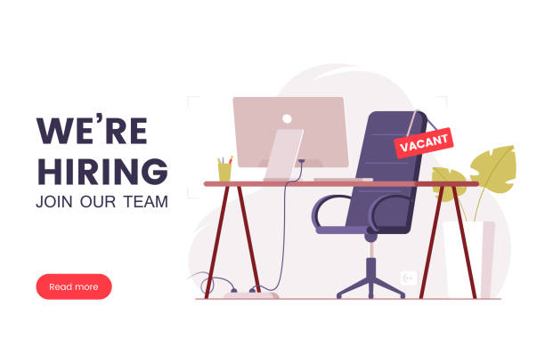 Job offer banner design. Workplace in the office with an empty chair and a vacancy sign. Search for employees in an IT company. Table with computer and chair. We're hiring poster. Vector illustration vector art illustration