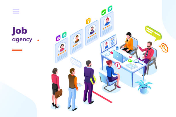 Job or hiring, recruitment agency isometric view Job or hiring agency isometric view. Hire or recruitment business room with people in queue. Man and woman looking for work at office. Employer or applicant, contender or challenger interview travel agents stock illustrations