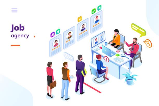 job oder einstellung, rekrutierungsagentur isometric ansicht - arbeitsvermittlung stock-grafiken, -clipart, -cartoons und -symbole
