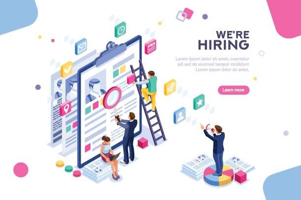 job-präsentation-vorlage - arbeitsvermittlung stock-grafiken, -clipart, -cartoons und -symbole