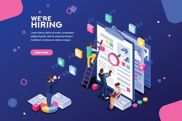 job-präsentation-web-seite-banner - arbeitsvermittlung stock-grafiken, -clipart, -cartoons und -symbole