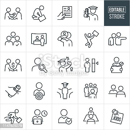 A set of hiring and employment icons that include editable strokes or outlines using the EPS vector file. The icons include jobseekers, job seeker giving business card, downtrodden employee, resume, graduate with college diploma, job candidate, candidate selection, job fair, job search, candidate search, job offer, new job, headhunter, fork in the road, college education, job interview, employee, business person, business person working and job recruiter to name just a few.