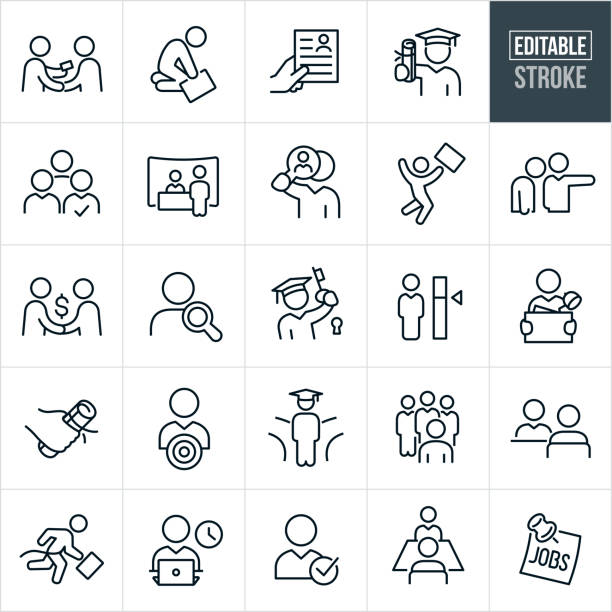 Job Recruiting and Hiring Thin Line Icons - Editable Stroke A set of hiring and employment icons that include editable strokes or outlines using the EPS vector file. The icons include jobseekers, job seeker giving business card, downtrodden employee, resume, graduate with college diploma, job candidate, candidate selection, job fair, job search, candidate search, job offer, new job, headhunter, fork in the road, college education, job interview, employee, business person, business person working and job recruiter to name just a few. one man only stock illustrations