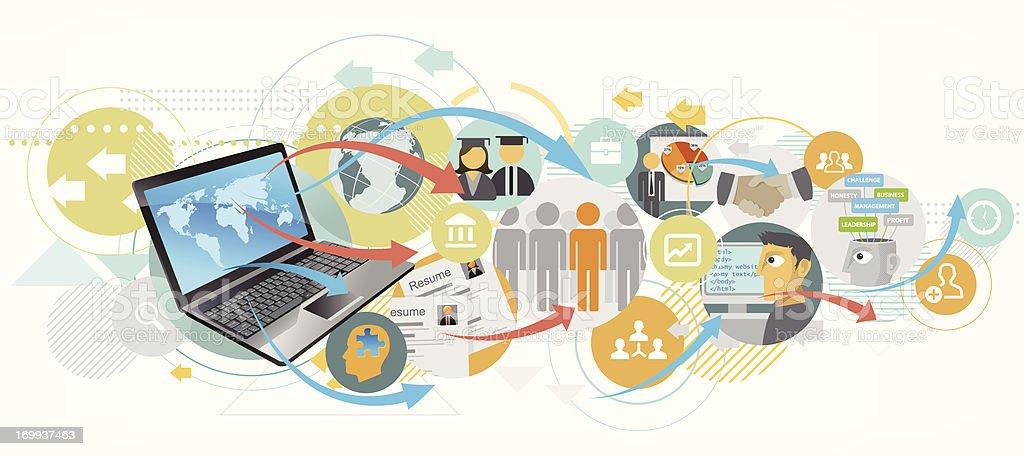 Job recruitment using internet royalty-free stock vector art