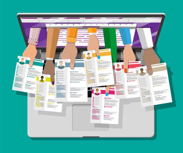 ilustrações de stock, clip art, desenhos animados e ícones de job resume document out from laptop - job interview