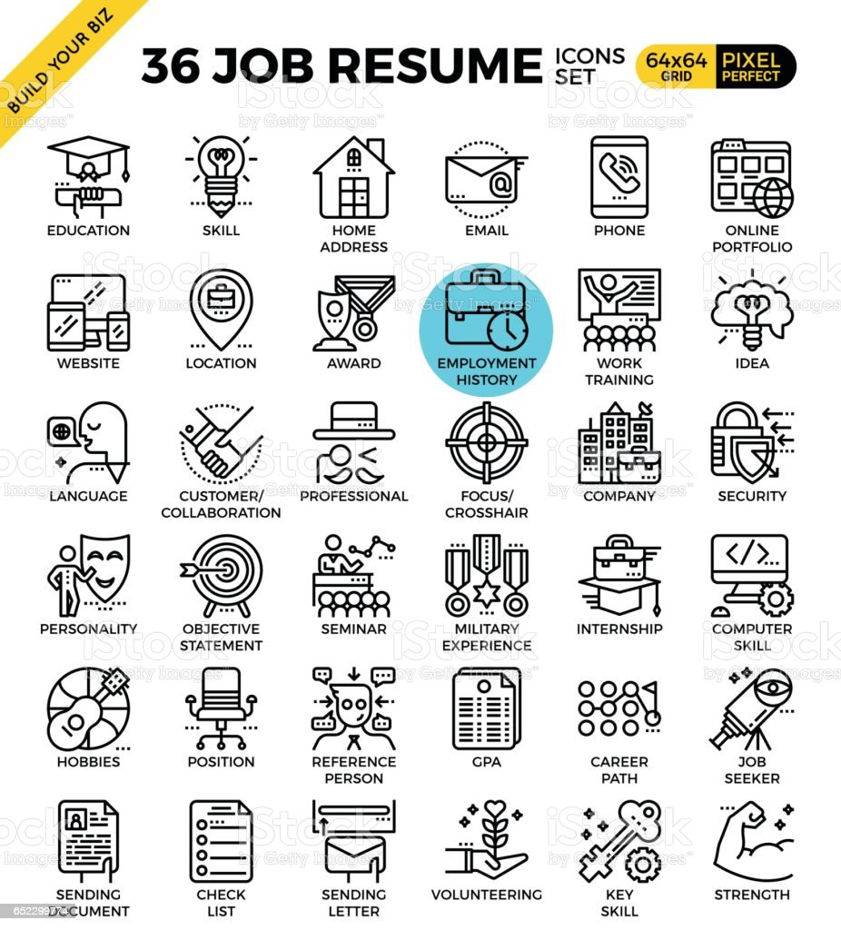 Job Resume Icons vector art illustration