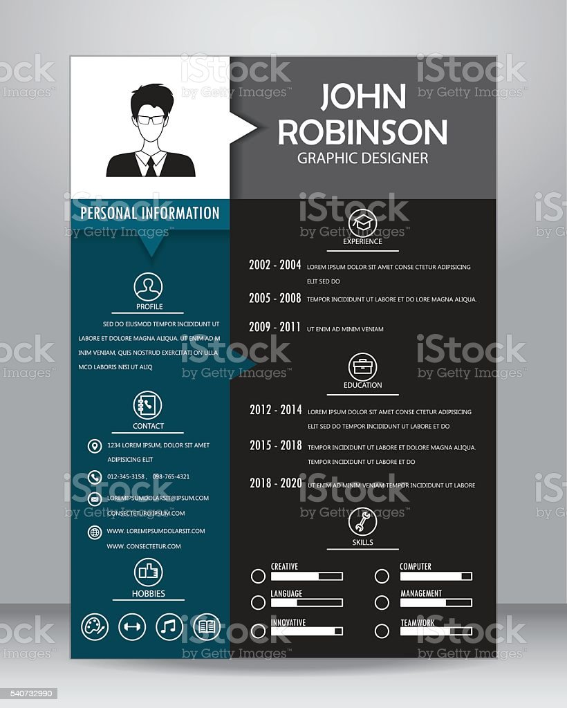 Job Resume Template Vector Stock Vecteur Libres De Droits 540732990