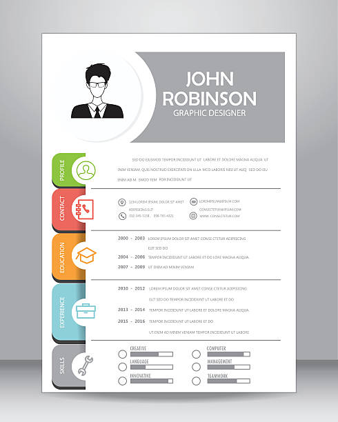 job resume template, vector Job resume or CV template layout template in A4 size. vector illustration resume templates stock illustrations