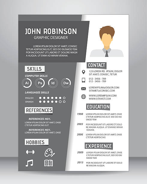 job resume template, vector - resume templates stock illustrations