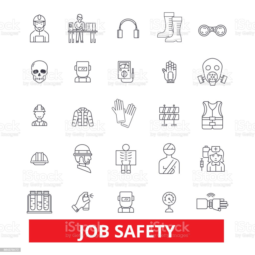 Arbeitssicherheit, Qualitätssicherung, Immunität, Sicherheit, Schutz, Beschäftigung, Karriere, Sicherheit Linie Symbole. Editierbare Striche. Flaches Design Vektor Illustration Symbol Konzept. Lineare Zeichen auf Hintergrund isoliert – Vektorgrafik