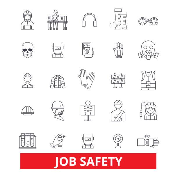 arbeitssicherheit, qualitätssicherung, immunität, sicherheit, schutz, beschäftigung, karriere, sicherheit linie symbole. editierbare striche. flaches design vektor illustration symbol konzept. lineare zeichen auf hintergrund isoliert - funktionsjacke stock-grafiken, -clipart, -cartoons und -symbole