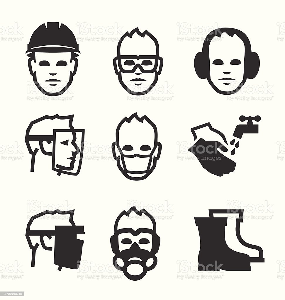 Job safety icons vector art illustration