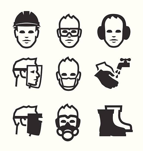 bildbanksillustrationer, clip art samt tecknat material och ikoner med job safety icons - face mask