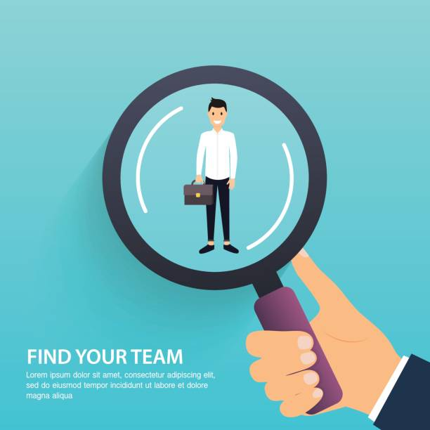 Job search and career. Human resources management and head hunter. Social Network, Media Concept. Business flat vector illustration. Job search and career. Human resources management and head hunter. Social Network, Media Concept. Business flat vector illustration. military recruit stock illustrations