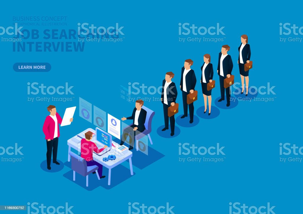 Job Search And Interview Standing In A Row Of Job Seekers Stock Illustration Download Image Now Istock