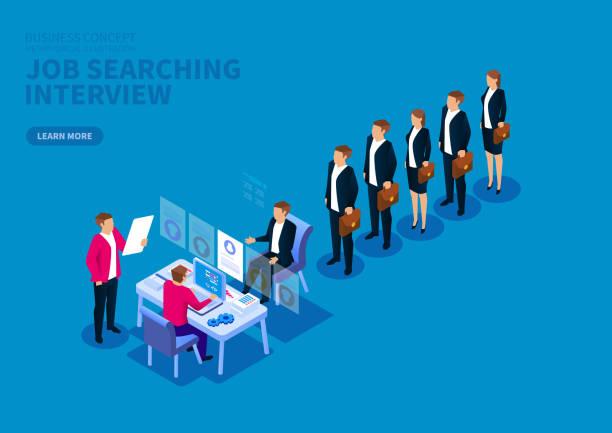ilustrações de stock, clip art, desenhos animados e ícones de job search and interview, standing in a row of job seekers - job interview