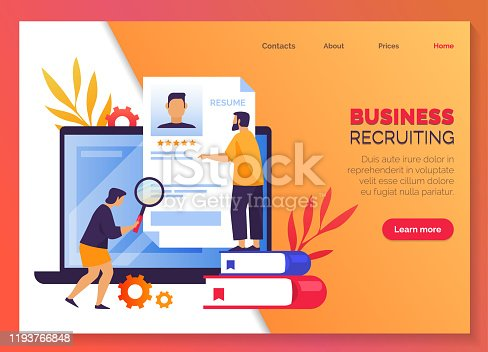 Business recruiting, HR job search service and employee headhunting, vector web banner creative concept design. Worker CV resume for business recruitment and company work hiring, landing page template