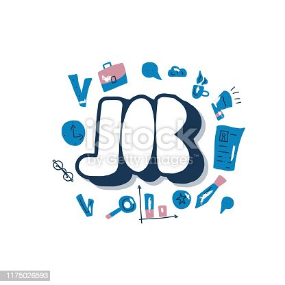 Job search emblem. Flat business concept. Vector color illustration.