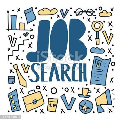 Job search concept. Vector color illustration.