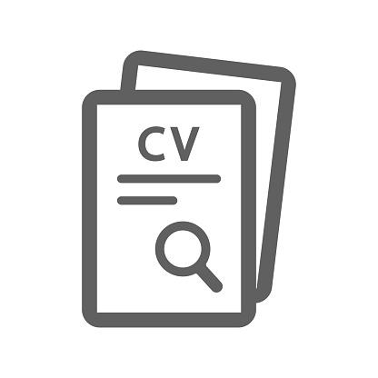 Job search, cv icon / gray color
