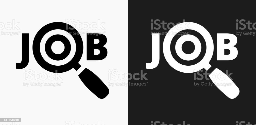 Job Search Icon on Black and White Vector Backgrounds vector art illustration