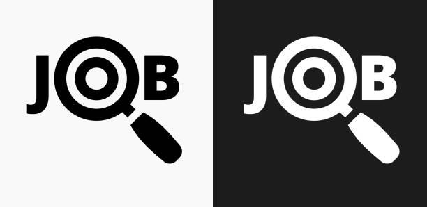 Job-Suche-Symbol auf schwarz-weiß-Vektor-Hintergründe – Vektorgrafik