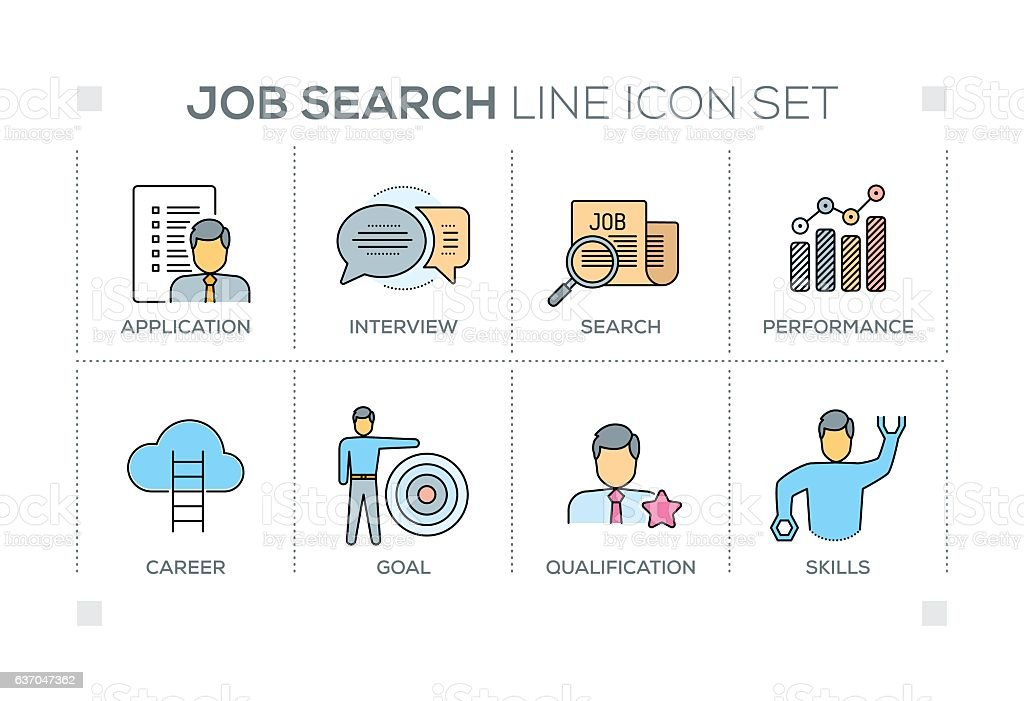Job Search keywords with line icons vector art illustration