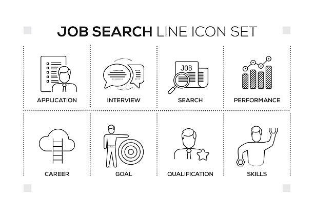 Job Search keywords with monochrome line icons – Vektorgrafik