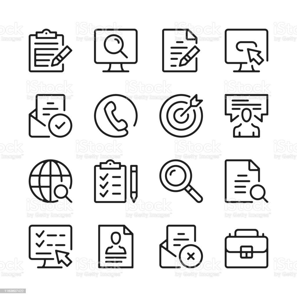 Job search line icons set. Find job, vacancy, employment, cv, career...