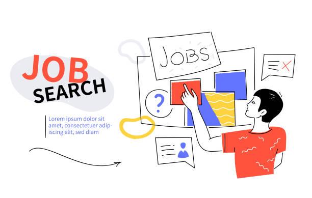 Job search - modern colorful flat design style web banner vector art illustration