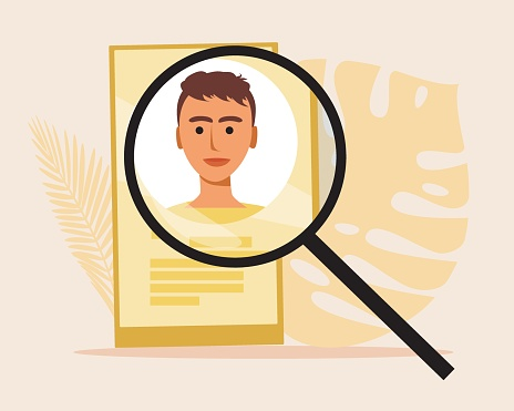 Job search online, flat vector stock illustration with web job candidate as concept Job search via internet or mobile app