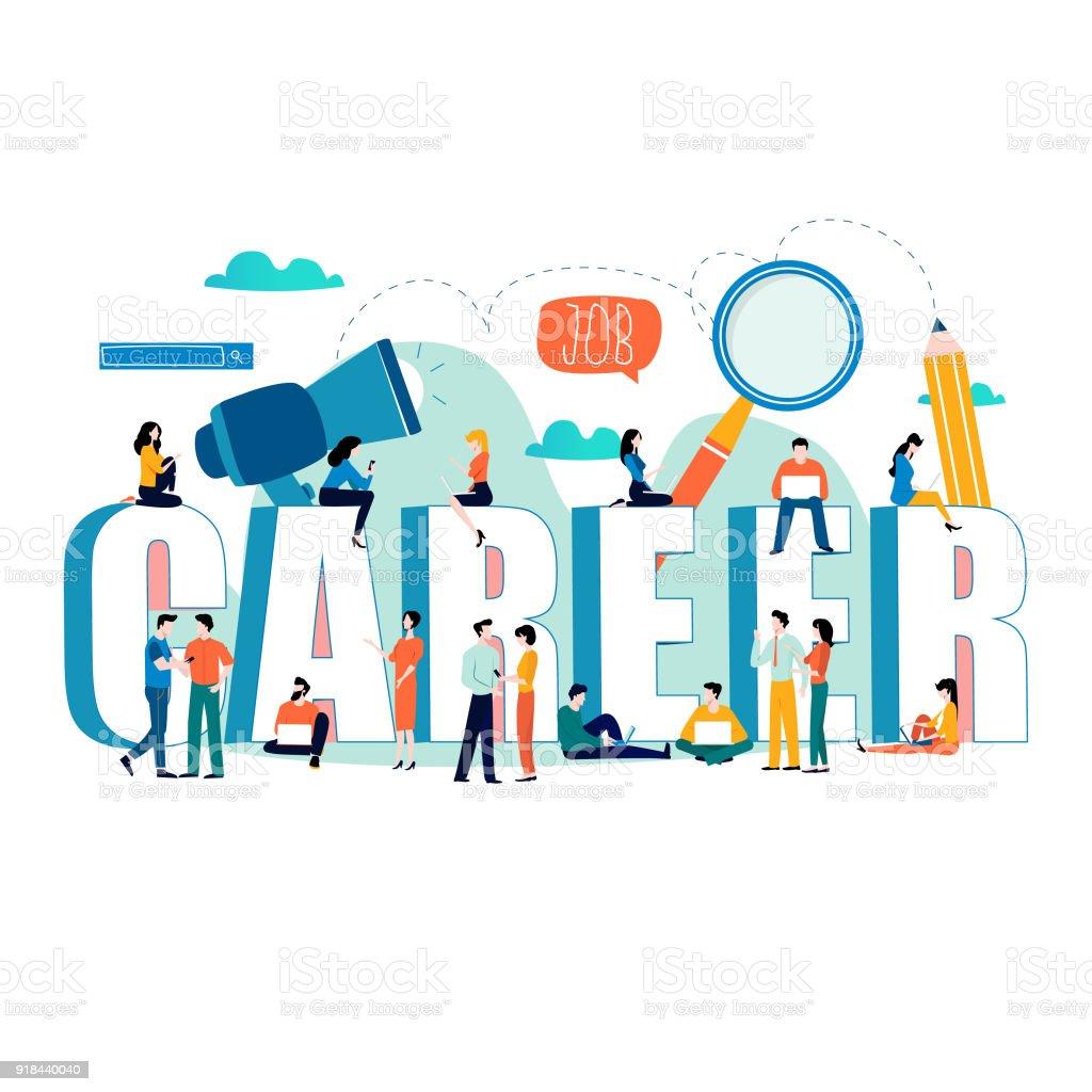 Job search, recruitment, hiring, employment, freelance, jobs, career concept vector art illustration